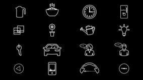 Internet das coisas e de ícones home espertos 4k com canal alfa ilustração royalty free