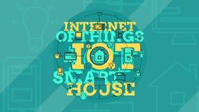 Internet das coisas e do conceito home esperto 4K ilustração stock