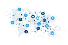 Internet das coisas IoT e do vetor do projeto de conceito da conexão de rede Conceito digital esperto ilustração stock