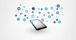 Internet das coisas, nuvem que computam, animação moderna do conceito da tecnologia de Digitas que caracterizam a tabuleta, conex filme