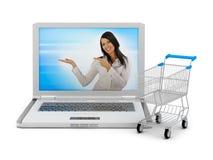 Internet dat - laptop en boodschappenwagentje winkelt Royalty-vrije Stock Foto's