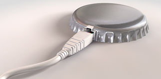 Internet Data Bandwidth Cap. A concept of an ethernet cable plugged into a bottle cap showing that the connection has been capped on an isolated background Stock Photos