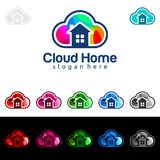 Cloud Home, Real Estate vector logo design with House and cloud shape, Represented internet, Data or Hosting. Internet, Data, Hosting vector logo design Stock Image
