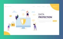 Internet Data Safety Network Landing Page. Business Information Digital Shield Technology Icon Server Privacy Encryption. Internet Data Safety Network Landing vector illustration