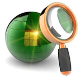 Internet data search. Data search abstract. Golden shiny cube with bright yellow flare flash inside abstract green data sphere under orange magnifying glass Royalty Free Stock Photography