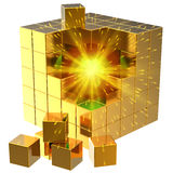 Internet data search abstract. Data search. I have found it! Burning sphere inside golden abstract cube assembling from blocks. 3D render (Hi-Res). Isolated on Royalty Free Stock Photos
