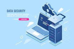 Internet data security concept, laptop with server rack and clock, protection and encryption data transfer, cloud data. Storage isometric icon, database query vector illustration