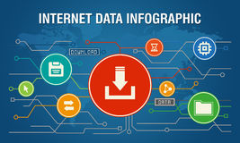 Internet Data transfer infographic blue background Stock Photography