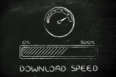 Internet and data transfer rate or speed Royalty Free Stock Photos