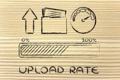 Internet and data transfer rate or speed. Upload transfer speed: speedometer and progress bar Royalty Free Stock Image