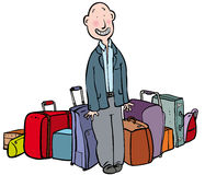 Baggage. Sheepish man surrounded by much luggage Stock Image