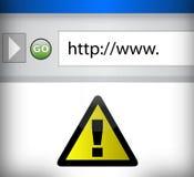 Internet-Datenbanksuchroutine mit gelbem WARNING Lizenzfreie Stockbilder