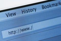 Internet-Datenbanksuchroutine mit unbelegter Web-Adresse Lizenzfreies Stockbild