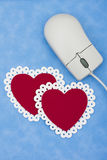 Internet Dating. Computer mouse with hearts,online dating services Stock Photos