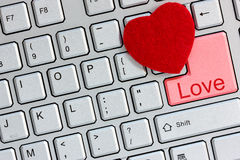 Internet dating concept. Love concept: Love key on the computer keyboard Stock Images