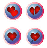 Internet Dating - Hearts Buttons. Four buttons, rasterized vectors, intended to represent dating, internet dating, different love situations stock illustration
