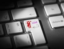 Internet Dating. Love Key On Computer Keyboard Stock Photos