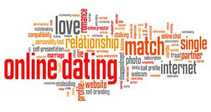 Internet dating. Online dating issues and concepts word cloud illustration. Word collage concept Royalty Free Stock Photos