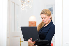 Internet Dating - Woman at home after work Stock Photos