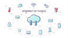 Internet de concept des choses Concept de réseau de nuage pour les dispositifs intelligents reliés Illustration de vecteur d'IoT  illustration de vecteur