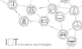 Internet de concept de technologie d'innovation d'icône de choses Les TCI sans fil du réseau de transmission de ville futée IOT M illustration libre de droits