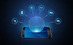 Internet de conception de l'avant-projet interactive d'innovation de technologie de téléphone d'hologramme d'icône de choses Photographie stock libre de droits