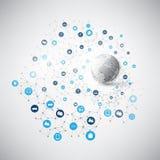 Internet de cosas, concepto de diseño computacional de la nube con los iconos - conexiones de red de Digitaces, fondo de la tecno Imagen de archivo