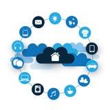 Internet de cosas, del hogar de Digitaces y del concepto de diseño de redes con los iconos Fotos de archivo libres de regalías
