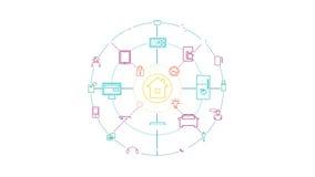 Internet de cosas y del concepto casero elegante 4k con el canal alfa ilustración del vector