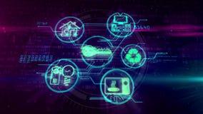 Internet de IOT del concepto de las cosas con la animación de los símbolos de los dispositivos ilustración del vector
