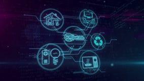 Internet de IOT del concepto de las cosas con los símbolos de los dispositivos que colocan la animación stock de ilustración