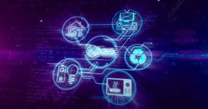 Internet de IOT do conceito das coisas com símbolos dos dispositivos ilustração stock