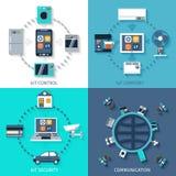 Internet de la composición plana de los iconos de las cosas stock de ilustración
