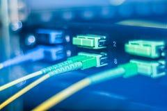 Internet de la fibra y el cable ópticos de la red conectaron en interruptor moderno fotografía de archivo libre de regalías