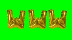 Internet de la web de WWW de la palabra de las letras del globo del oro del helio que flotan en la pantalla verde - almacen de metraje de vídeo