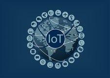 Internet de las cosas (IoT) palabra e iconos con el globo y el mapa del mundo Imágenes de archivo libres de regalías