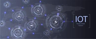 Internet de las cosas IoT y del concepto del establecimiento de una red para los dispositivos conectados ilustración del vector