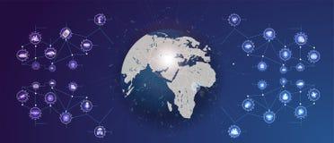 Internet de las cosas IoT y del concepto del establecimiento de una red para los dispositivos conectados Futurista libre illustration