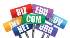 Internet de las muestras de los Domain Name Foto de archivo