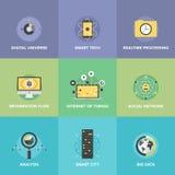 Internet de los iconos planos de las cosas fijados Imágenes de archivo libres de regalías