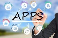Internet del concepto de las cosas con diversos iconos del app Imagen de archivo libre de regalías