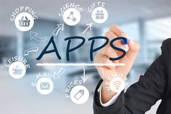 Internet del concepto de las cosas con diversos iconos del app Fotografía de archivo libre de regalías