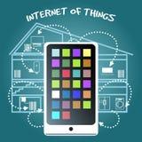 Internet del concepto de las cosas con el teléfono elegante Imagen de archivo libre de regalías