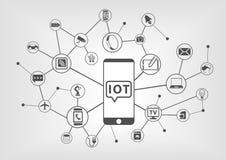 Internet del concetto di cose (IOT) dei dispositivi collegati con lo Smart Phone Fotografia Stock Libera da Diritti