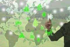 Internet del concetto di thingsagriculture, agricoltura astuta, Immagini Stock Libere da Diritti