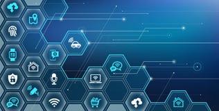"""Internet del consumidor de las cosas - dispositivos del iot, conectividad y ejemplo del vector del †de las redes """" libre illustration"""