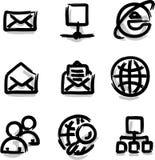 Internet del contorno de la etiqueta de plástico de los iconos del Web del vector Fotos de archivo