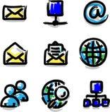 Internet del contorno del color de la etiqueta de plástico de los iconos del Web Foto de archivo