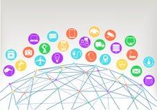 Internet del fondo del ejemplo de las cosas (Iot) Iconos/símbolos para los diversos dispositivos conectados