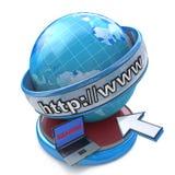 Internet del globo que busca concepto, la página web o al navegador de Internet Imagen de archivo